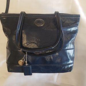 Navy Blue leather Coach handbag